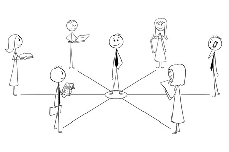 Cartoon stick man drawing conceptual illustration of businessmen and businesswomen connected with manager or leader. Business metaphor of teamwork and leadership.