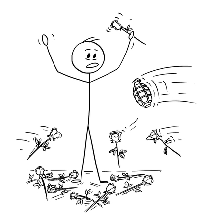 Cartoon stick drawing conceptual illustration of man on stage to who was given standing ovation and flowers are thrown from audience. Hand grenade is thrown instead of one rose. Metaphor of envy and b