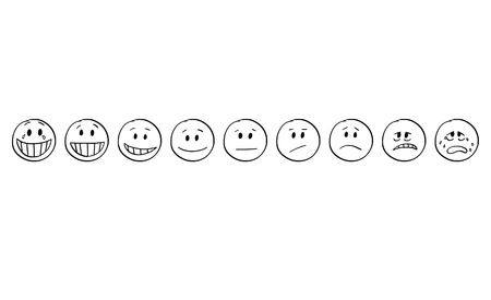 Cartoon stick drawing conceptual set of illustrations of smiley or emoticon faces showing range of emotions from gaiety or hilarity to sadness, joy,smiling, smile and sad face.
