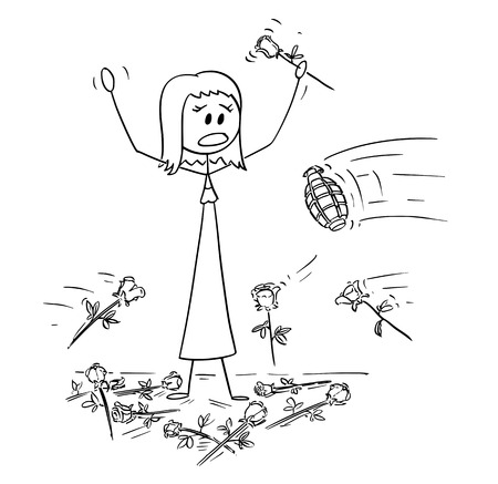 Cartoon stick drawing conceptual illustration of woman on stage to who was given standing ovation and flowers are thrown from audience. Hand grenade is thrown instead of one rose. Metaphor of envy and