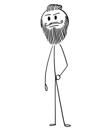 Cartoon stick drawing conceptual illustration of trendy fashionable hipster man with full beard and mustache or facial hear.