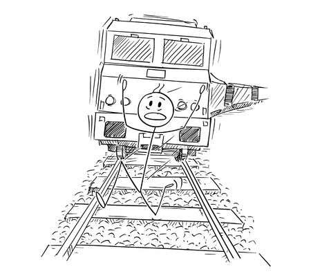 Cartoon stick drawing conceptual illustration of frightened man running on railway tracks away from the train approaching behind him.