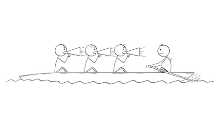 Cartoon stick drawing conceptual illustration of four men or businessmen on the rowing boat, one man is rower, three men are coxswains. Business concept of non-functional teamwork or team.