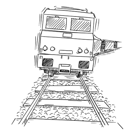 Cartoon drawing of front view of generic train engine locomotive on the tracks.