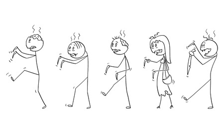Cartoon stick drawing illustration of group of five undead zombies walking. Halloween drawing.