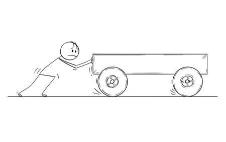 Cartoon stick drawing conceptual illustration of man pushing empty cart or barrow.
