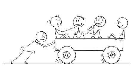 Cartoon stick drawing conceptual illustration of four men or businessmen enjoying riding on cart pushed by one man without help. Business concept of non-functional teamwork or team.