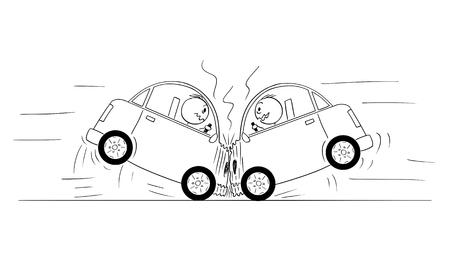 Bâton de bande dessinée dessinant l'illustration conceptuelle de l'accident frontal de collision frontale de deux voitures. Vecteurs