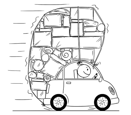 Cartoon stick drawing conceptual illustration of man driving car overloaded by boxes,objects and luggage.