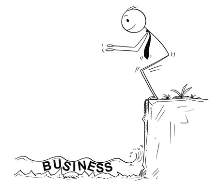 Cartoon stick man drawing conceptual illustration of businessman ready to jump in unknown shallow water of business. Metaphor ob start-up or investment risk.