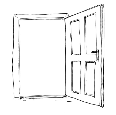 Black brush and ink artistic rough hand drawing of open wooden door.