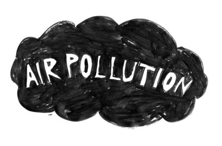 Black brush and ink artistic rough hand drawing of dark cloud with air pollution text.