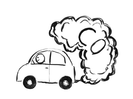 Black brush and ink artistic rough hand drawing of smoke coming from car exhaust into air. Environmental concept of CO or carbon monoxide pollution.