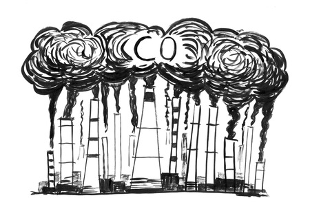 Black brush and ink artistic rough hand drawing of smoke coming from industry or factory smokestacks or chimneys into air. Environmental concept of carbon monoxide or CO air pollution.