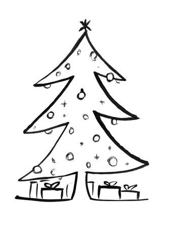 Black brush and ink artistic rough grunge hand drawing of decorated Christmas tree and wrapped gift boxes around. 版權商用圖片