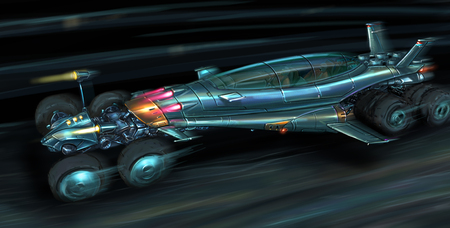 Concept art digital painting or illustration of fast movie or computer game style sci-fi or science fiction jet propelled car. Stock Photo