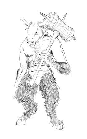 Black and white ink artistic rough hand drawing of fantasy or mythological minotaur with maul. Stok Fotoğraf
