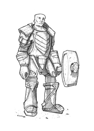Black and white ink drawing of fantasy warrior knight in heavy armor and iron sledgehammer or maul in hand.