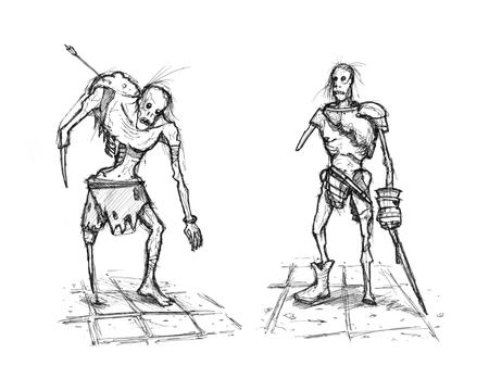 Black and white rough grunge ink sketch of two fantasy warrior or knight zombies. Stock Photo