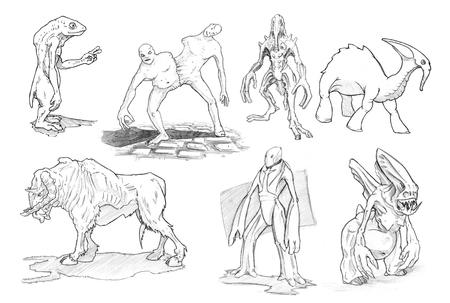 Conjunto de dibujos a lápiz o tinta en blanco y negro de varios monstruos y criaturas de fantasía y ciencia ficción. Foto de archivo