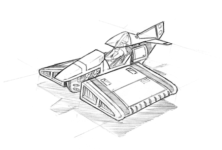 Rough black and white concept art drawing of small sci-fi or futuristic aircraft or hovercraft.