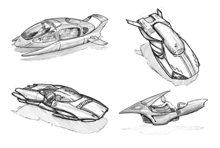 Set of black and white ink concept art drawings of  flying cars or vehicles.