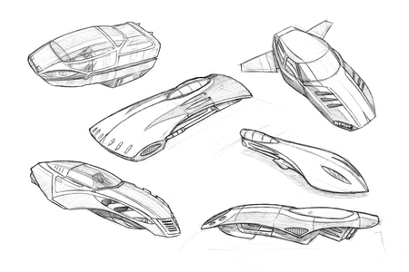 Set of black and white pencil concept art drawings of flying cars or vehicles.