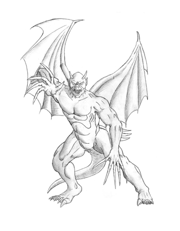 Black and white pencil concept art drawing of winged fantasy demon or evil devil monster with wings, tail, claws and horns.