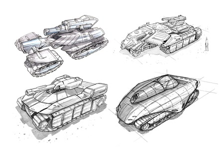 Black and white rough ink concept art drawing of set of sci-fi future military tank designs.
