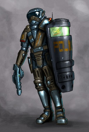 Concept art digital painting or illustration of science fiction or future policeman or police officer in ballistic armor and with shield and gun.