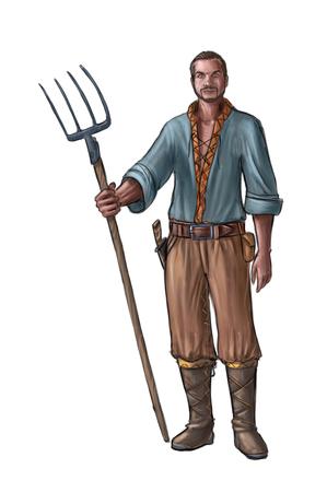 Peinture numérique d'art conceptuel ou illustration d'un villageois fantastique, d'un homme de village, d'un compatriote ou d'un agriculteur tenant une fourche ou une fourchette. Banque d'images