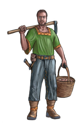 Concept art digital painting or illustration of fantasy villager, village man, countryman or farmer holding hoe and basket . Stock Photo