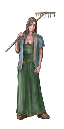 Peinture numérique d'art conceptuel ou illustration de fantaisie belle jeune femme de village ou paysanne ou villageois ou agriculteur.