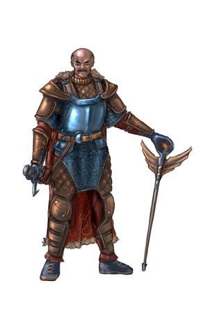 Konzeptkunst digitale Malerei oder Illustration eines ein Auge blinden Fantasy Krieger Ritters in Plattenrüstung mit Schwert.