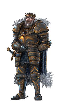 Concept art digital painting or illustration of warrior king in full plate armor.