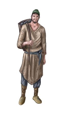 Peinture numérique d'art conceptuel ou illustration d'un villageois fantastique, d'un homme de village, d'un mineur ou d'un compatriote avec un panier arrière ou un paquet de charbon ou de pierres. Banque d'images