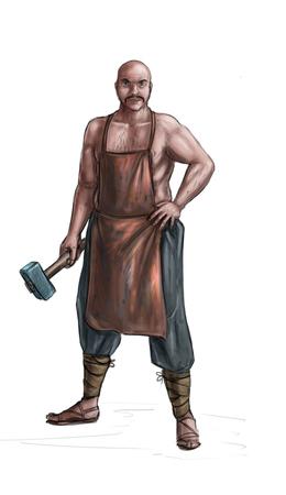 Concept art digital painting or illustration of fantasy smith or blacksmith holding hammer.