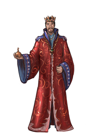 Concept art digital painting or illustration of king in red robe or gown.