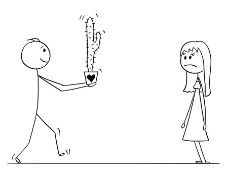Cartoon stick drawing conceptual illustration of loving man or boy in love giving cactus plant as gift or present to woman or girl on date.