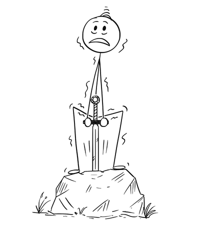 Cartoon stick drawing conceptual illustration of man or businessman pulling the Excalibur sword from the stone as success or achievement metaphor.