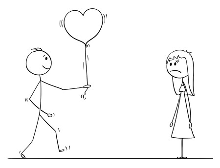 Cartoon stick drawing conceptual illustration of loving man or boy in love giving heart shaped balloon to woman or girl on date as gift or present. She is unhappy. Illustration