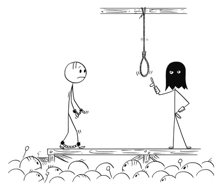 Kreskówka kij rysunek koncepcyjna ilustracja człowieka chodzącego na własną egzekucję.