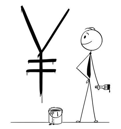 Cartoon stick drawing conceptual illustration of businessman with brush and paint can and big black Japanese Yen currency sign or symbol painted or written on wall.