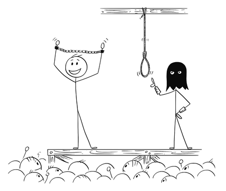 Cartoon stick drawing conceptual illustration of man enjoying the attention of crowd while waiting on his own execution.