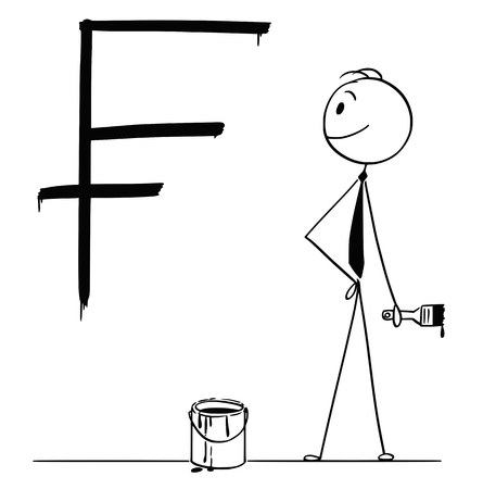 Cartoon stick drawing conceptual illustration of businessman with brush and paint can and big black Swiss frank currency sign or symbol painted or written on wall. Illustration