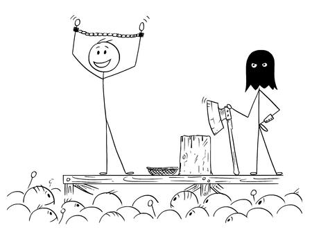 Kreskówka kij rysunek koncepcyjna ilustracja człowieka ciesząc się uwagą tłumu, czekając na własną egzekucję.