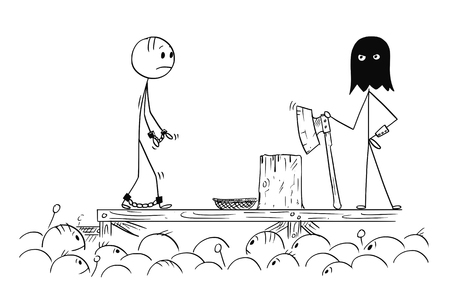 Cartoon stick drawing conceptual illustration of man walking on his own execution.