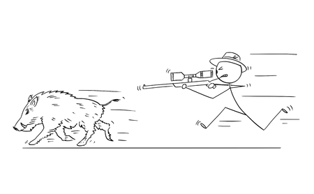 Cartoon stick drawing conceptual illustration of hunter with scoped rifle hunting wild boar or swine.