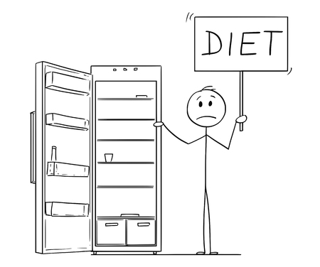 Cartoon stick drawing conceptual illustration of hungry and depressed man holding diet sign and empty fridge or refrigerator. Vector Illustration