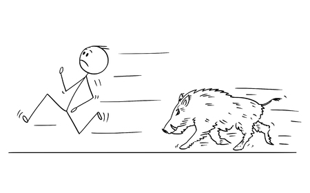 Cartoon stick drawing conceptual illustration of man running away from wild boar or swine.
